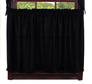Burlap Black Tier Curtains 24""