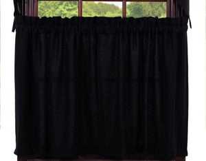 Burlap Black Tier Curtains 36""