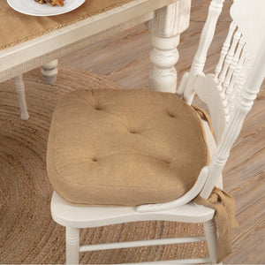 Burlap Natural Chair Pad 15""