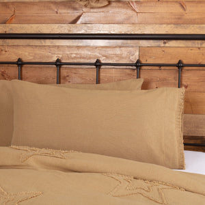 Burlap Natural Ruffled King Pillow Case - Set of 2