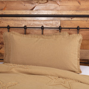 Burlap Natural Ruffled King Sham 21x37""