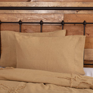 Burlap Natural Standard Pillow Case - Set of 2