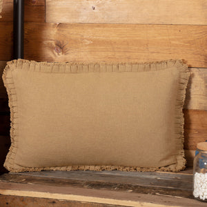 Burlap Natural Ruffled Pillow 14x22""