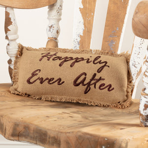 "Burlap Natural ""Happily Ever After"" Pillow 7x13"""