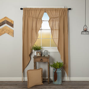 Burlap Natural Long Prairie Curtains 84""