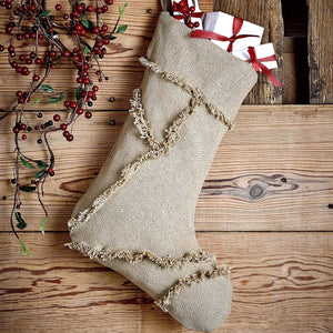 Burlap Natural Patchwork Stocking 11x15""