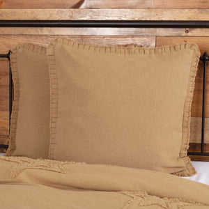 Burlap Natural Ruffled Euro Sham 26x26""