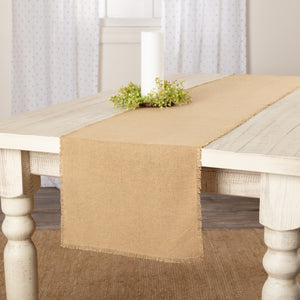 Burlap Natural Fringed Runner 13x48""