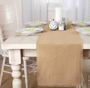 Burlap Natural Fringed Runner 13x90""