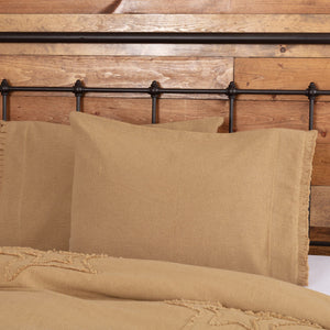 Burlap Natural Ruffled Standard Pillow Case - Set of 2