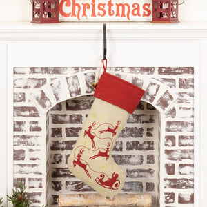 Burlap Santa Stocking 12x20""