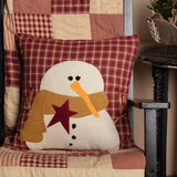 "Cheston Applique Snowman Pillow 18"" Filled - Primitive Star Quilt Shop"