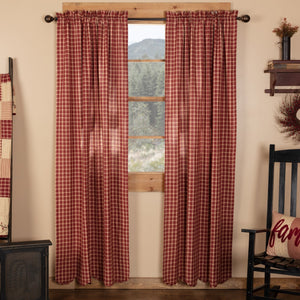 Cheston Plaid Scalloped Lined Panel Curtains 84""