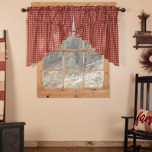 Cheston Plaid Scalloped Lined Prairie Swag Curtains