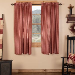 Cheston Plaid Scalloped Lined Short Panel Curtains 63""