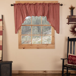 Cheston Plaid Scalloped Lined Swag Curtains