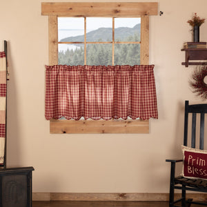 Cheston Plaid Scalloped Lined Tier Curtains 24""