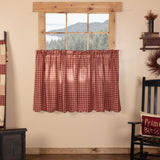 "Cheston Plaid Scalloped Lined Tier Curtains 36"" - Primitive Star Quilt Shop"