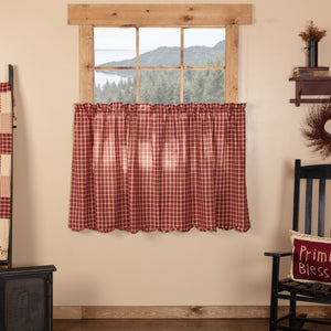 Cheston Plaid Scalloped Lined Tier Curtains 36""