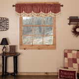"Cheston Star and Pip Scalloped Lined Valance 72"" - Primitive Star Quilt Shop"