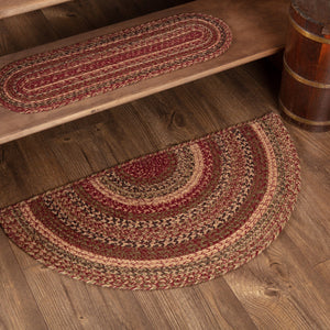 "Cider Mill Half Circle Braided Rug 16.5x33"" - with Pad"
