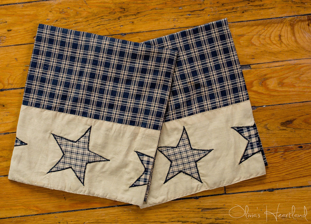 Colonial Star Black King Pillow Case - Set of 2 - Primitive Star Quilt Shop