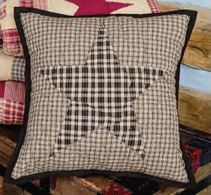 "Colonial Star Black Plaid Quilted Pillow 16"" Filled"