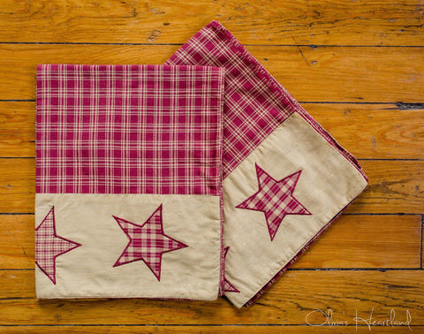 Colonial Star Burgundy Pillow Case - Set of 2 - Primitive Star Quilt Shop