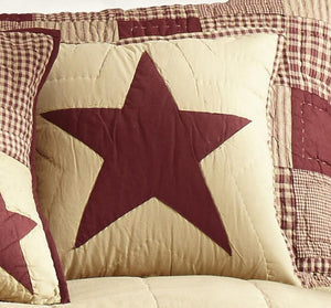 "Burgundy and Tan Star Quilted Pillow 16"" Filled"