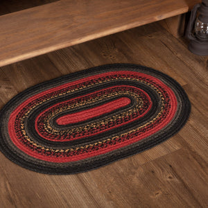 "Cumberland Oval Braided Rug 20x30"" - with Pad"
