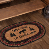 "Cumberland Moose ""Welcome"" Oval Braided Rug 20x30"" - with Pad - Primitive Star Quilt Shop"
