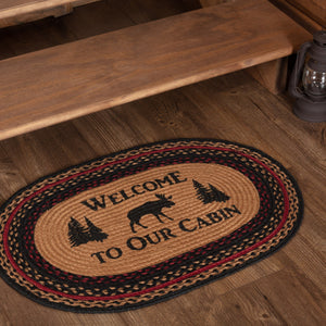 "Cumberland Moose ""Welcome"" Oval Braided Rug 20x30"" - with Pad"