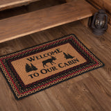 "Cumberland Moose ""Welcome"" Rectangle Braided Rug 20x30"" - with Pad - Primitive Star Quilt Shop"