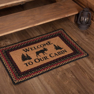 "Cumberland Moose ""Welcome"" Rectangle Braided Rug 20x30"" - with Pad"