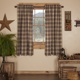 "Dawson Star Scalloped Lined Short Panel Curtains 63"" - Primitive Star Quilt Shop"