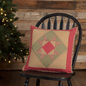 "Dolly Star Patchwork Pillow 18"" Filled"