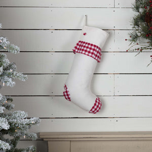 Emmie Red Check Ruffle Stocking 12x20""