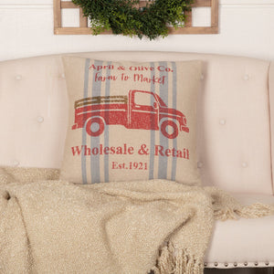 "Farmer's Market Truck Pillow 18"" Filled"