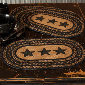 "Farmhouse Star Stencil Braided Placemat 12x18"" - Set of 6"