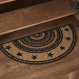 "Farmhouse Star Stencil Half Circle Braided Rug 16.5x33"" - with Pad - Primitive Star Quilt Shop"