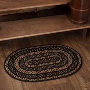 "Farmhouse Star Oval Braided Rug 20x30"" - with Pad"