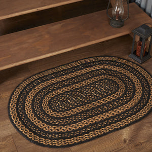 "Farmhouse Star Oval Braided Rug 24x36"" - with Pad"
