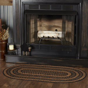 Farmhouse Star Oval Braided Rug 27x48""