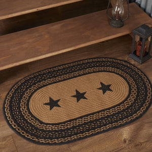 "Farmhouse Star Stencil Oval Braided Rug 24x36"" - with Pad"