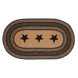 "Farmhouse Star Stencil Oval Braided Rug 27x48"" - with Pad - Primitive Star Quilt Shop"