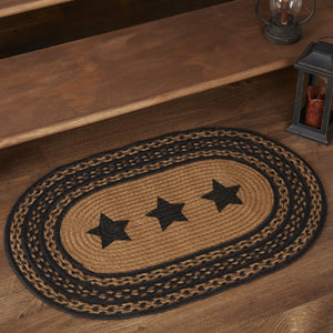 "Farmhouse Star Stencil Oval Braided Rug 20x30"" - with Pad"