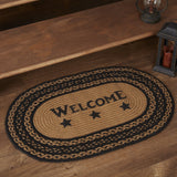 "Farmhouse Star ""Welcome"" Oval Braided Rug 20x30"" - with Pad - Primitive Star Quilt Shop"