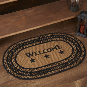 "Farmhouse Star ""Welcome"" Oval Braided Rug 20x30"" - with Pad"