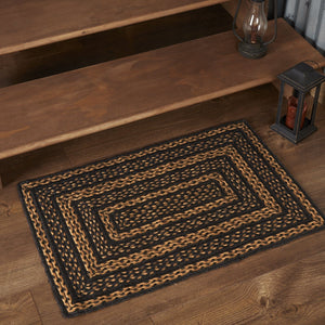 "Farmhouse Star Rectangle Braided Rug 20x30"" - with Pad"