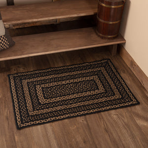 "Farmhouse Star Rectangle Braided Rug 24x36"" - with Pad"